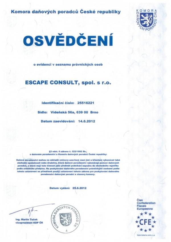 Escape Consult - Certifikát